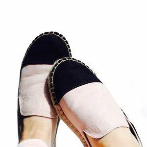 Pointed Espadrilles (blush pink w/ black toe)